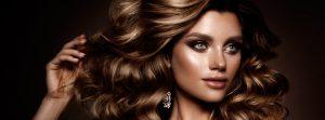 Beautiful woman with wavy, shiny hair