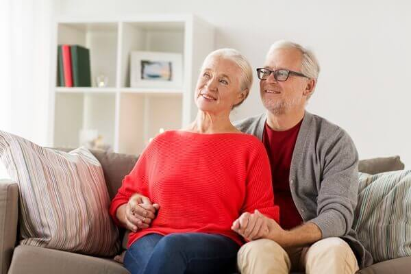 Elderly couple enjoying time together at home
