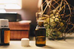Argan oil in an amber glass bottle