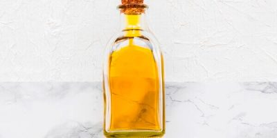 Argan oil in clear glass bottle